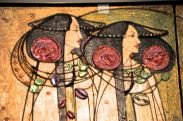 Details of the gesso panel (with Charles Mackintosh's stylized roses)