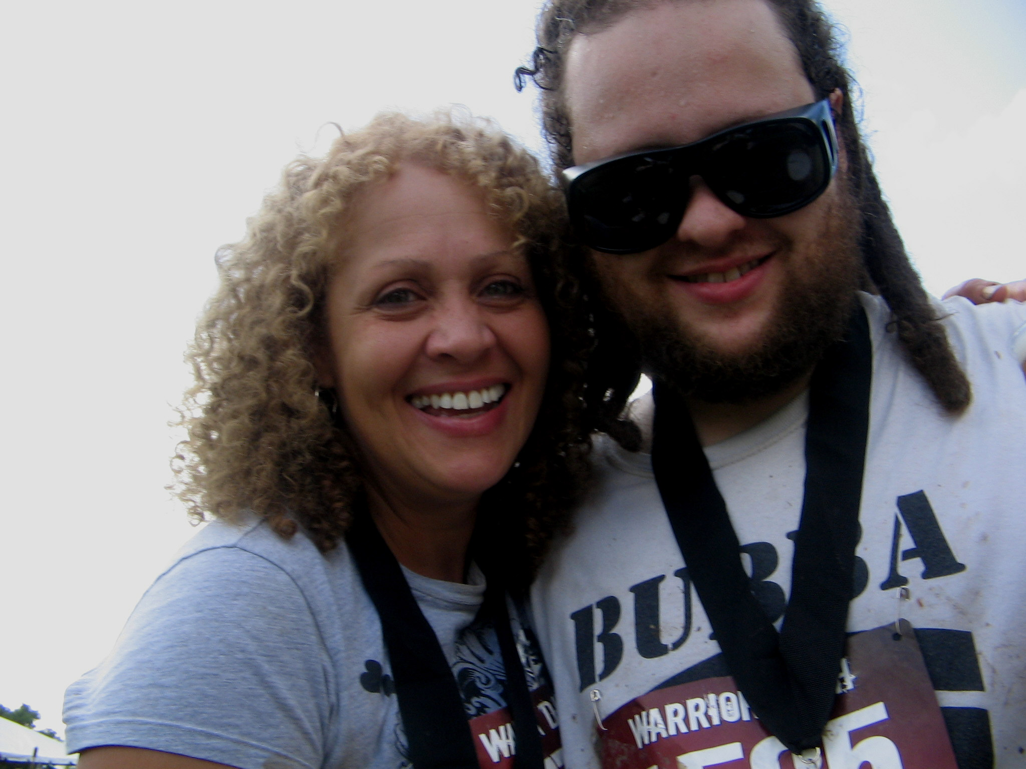 My son Simon and I after The Warrior Dash in July 2009