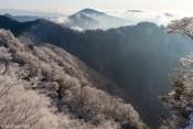 霧氷と御坂の稜線