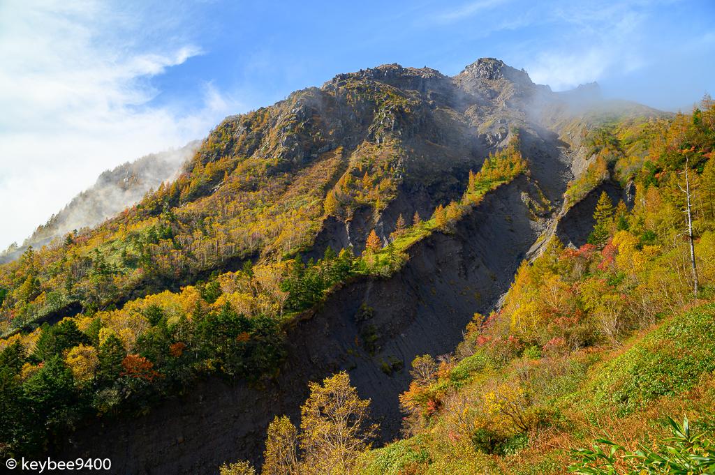 焼岳の豪快な溝
