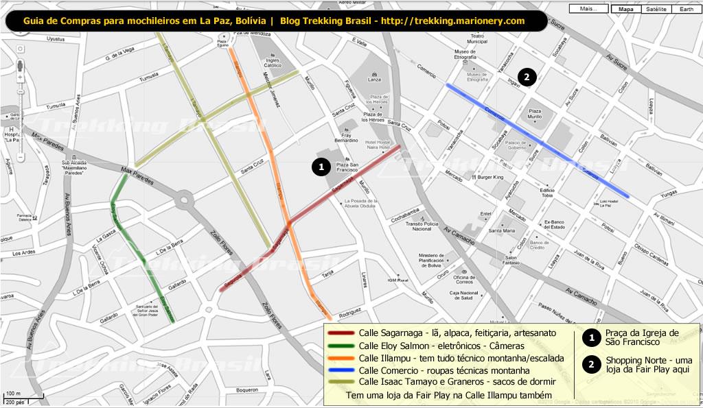 5246d95074dd7 Mapa com as principais ruas de comércio de material de montanha e esportivo  de La Paz