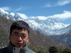 Kim posando en Phedi, Annapurna