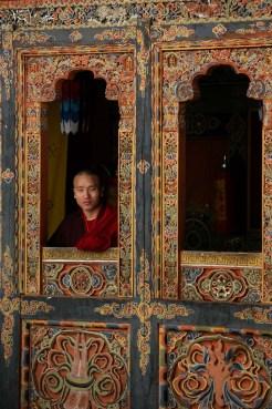 Buddhist Monk Window Bhutan