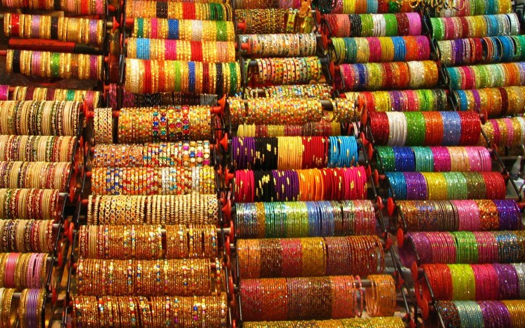 Colored bangles in Indian market