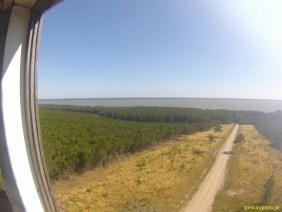 Widok na Zalew Kuroński z jednej strony wieży