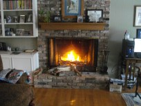 Our fireplace which kept us cozy this winter on our chilly days.