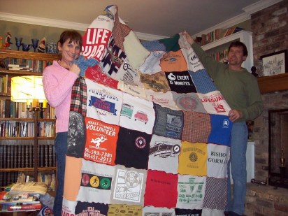 Micah's quilt and you can see the Cubs tshirt and The friendly confines of Wrigley Field