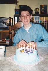 Celebrating your 12 or 13th birthday at Grandma's. I do believe this was a ice-cream cake
