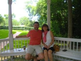 Steve and I in gazebo outside of Sterne-Hoya home.