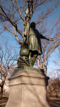 """Columbus at the beginning of the Literary Walk. As the Central Park website states, """"he is the odd man out."""""""