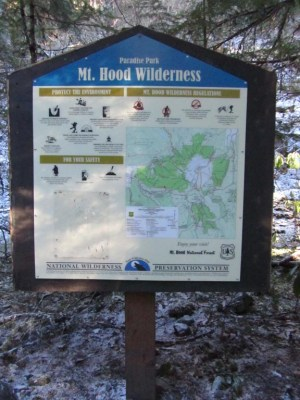 Wilderness sign in spot. From here the trail starts it climb. It has an easy grade up to Timberline Trail.