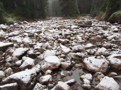 Snow on rock of Rush Creek in the Indian Heaven Wilderness.