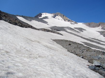 Another view of the Newton Clark Glacier. This photo makes it look like an easy trek across the snow to the summit. It is much steeper, slippery and with a fatal fall line in person.