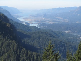 Looking west down the Columbia Gorge to Bonneville Dam.