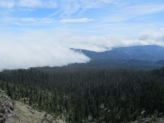 As we were heading back we were able to see the line where the fog still hung on.