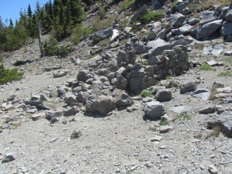 The rocky remains of old hut that was built by the CCC back in the 30's.
