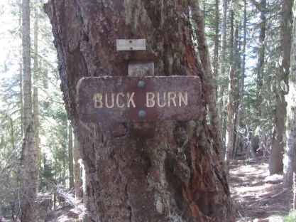 Sign along the trail for Buck Burn.