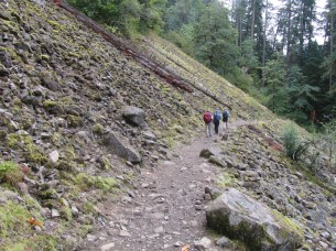 The trail goes through this talus slope.