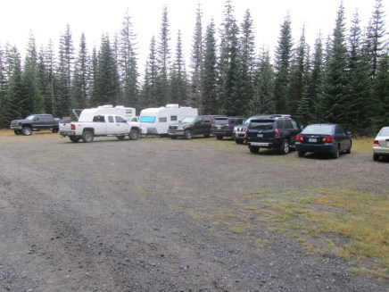 So this time up a full parking lot and lot of bow hunters setting up camp.