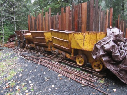 A collection of old mining cars.