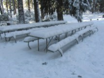 Snow covered Picnic tables.