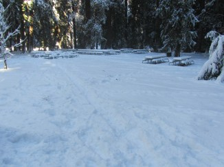 Group picnic area covered in snow.