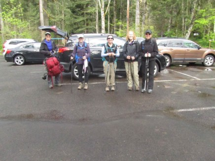 Our group getting ready in the parking lot for hiking Hamilton Mt.