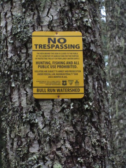 No Trespassing sign at the boundary of Bull Run.