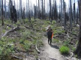Becky and Lori heading back down the Tilly Jane trail in the burn area.