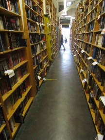 There are many, many rows of books.