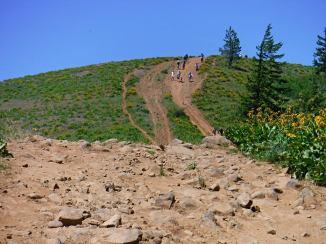 Heading down off of Bald Mt. Looks like everyone had the same idea.