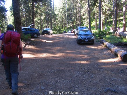 Parking area at Wahtum Lake Camp.