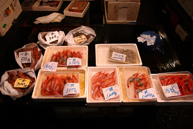 Assorted prawns at a stall in Tsukiji