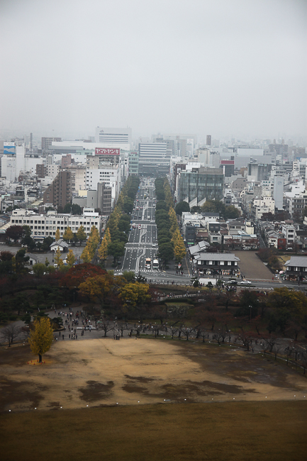 The modern city of Himeji can be seen from the castle