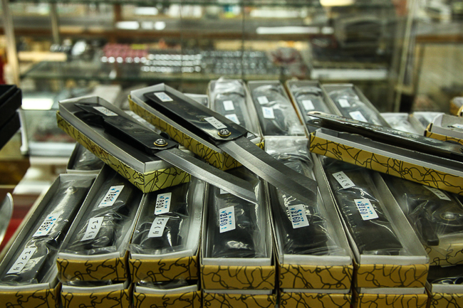 Higonokami knives on display at the store