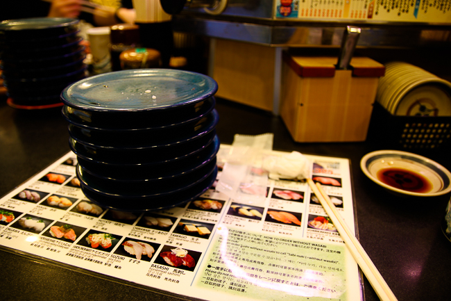 """My stack of plates after my """"little"""" sushi snack"""