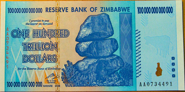 The 100 trillion dollar note from Zimbabwe is just one of the cool currencies you can add to your collection (Drew Stephens/flickr)