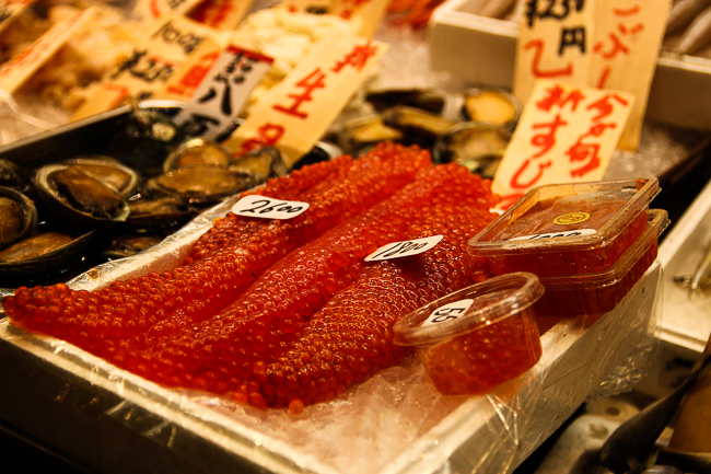 Some lovely fish roe and clams on sale