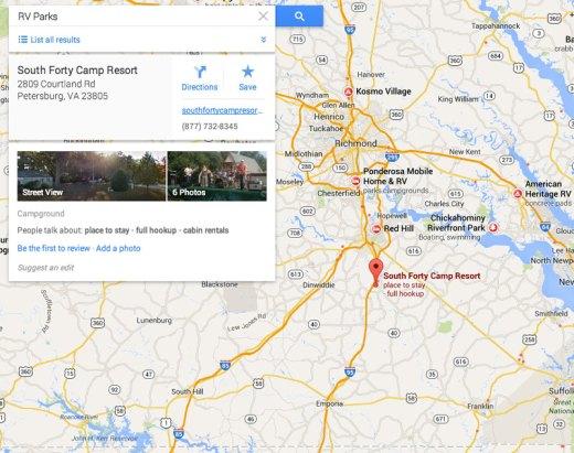 Google Maps RV Park