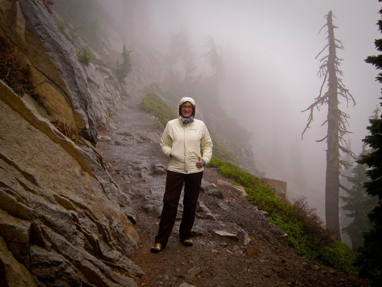 Kathy Hiking to Bumpass Hell