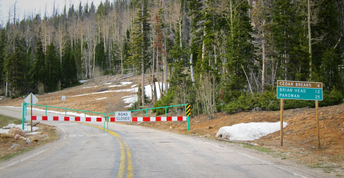 Cedar Breaks Road Closed