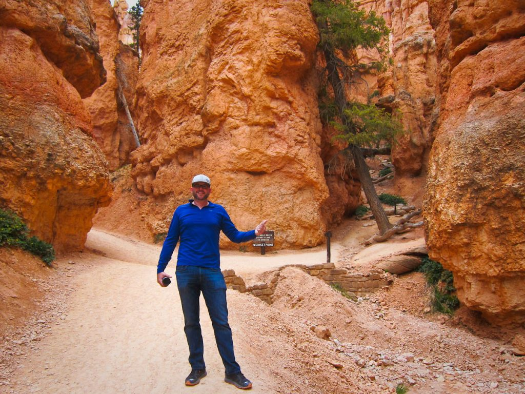 Rich near two small rock bridges in Bryce Canyon
