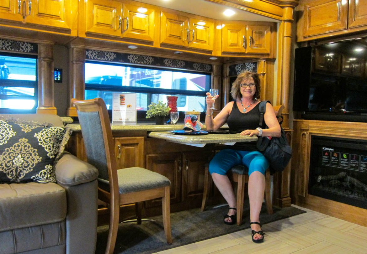 Kathy in a nice RV