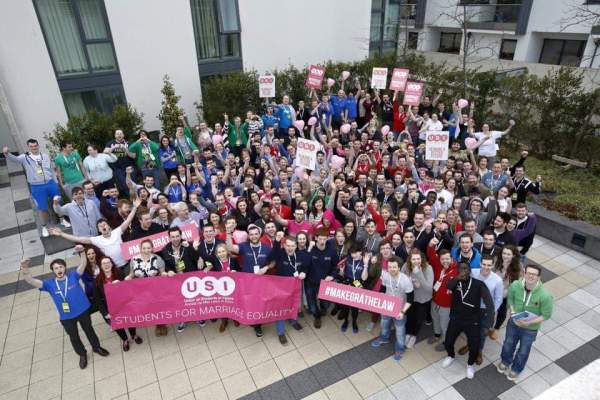 USI standing up for marriage equality with banners as part of the student movement
