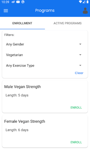 Clients Enroll in Fitness Programs on Android
