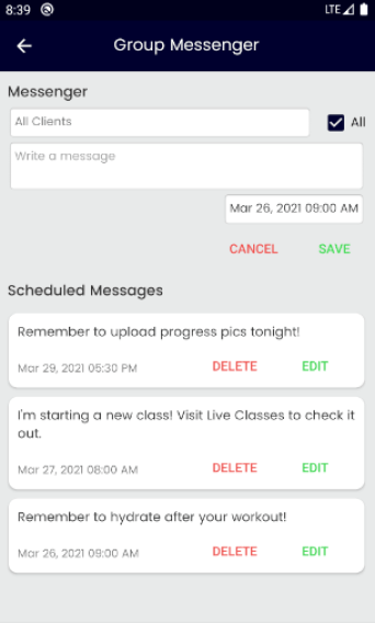 Group Messenger for Personal Training Client Communication - Client Management