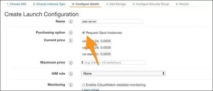 Créez une nouvelle configuration de lancement à partir de l'onglet Auto Scaling, et à partir de l'onglet «Configurer les détails», cochez «Demander des instances ponctuelles».