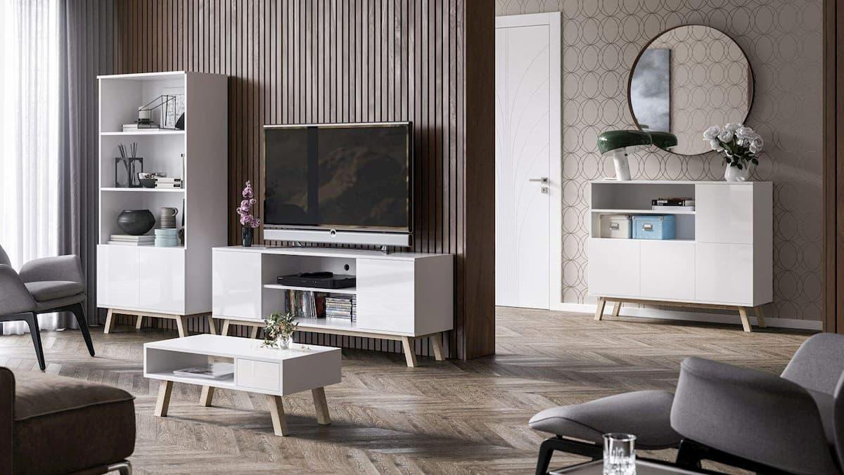 ensemble de meubles de salon vero blanc brillant