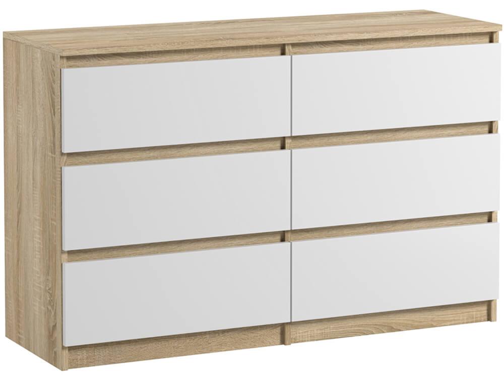 commode 6 tiroirs pari 6 blanc mat et chene sonoma 76 x 120 x 35 cm