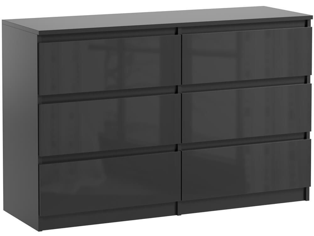 commode 6 tiroirs pari 6 noir laque 76 x 120 x 35 cm